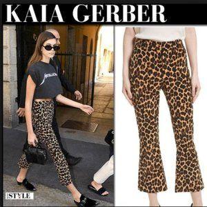 FRAME Leopard Velvet Crop Flare Pants - 4